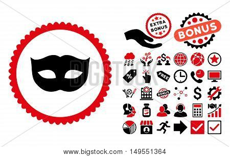 Privacy Mask pictograph with bonus design elements. Glyph illustration style is flat iconic bicolor symbols, intensive red and black colors, white background.