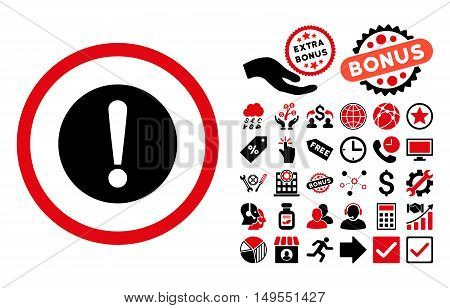 Problem pictograph with bonus symbols. Glyph illustration style is flat iconic bicolor symbols, intensive red and black colors, white background.