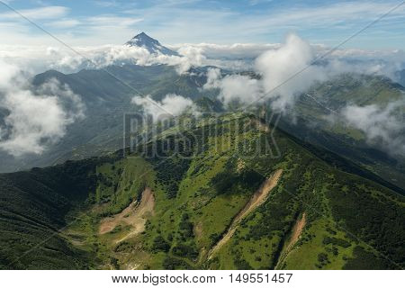 Vilyuchinsky stratovolcano. South Kamchatka Nature Park. View from the helicopter.