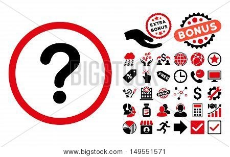 Question pictograph with bonus clip art. Glyph illustration style is flat iconic bicolor symbols, intensive red and black colors, white background.
