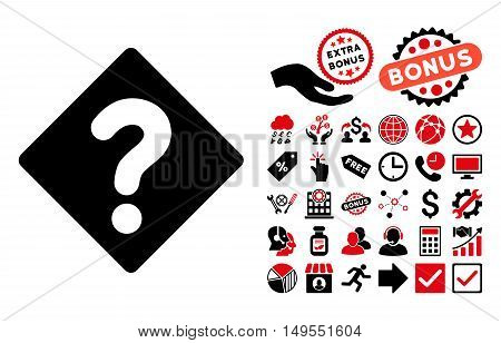 Question pictograph with bonus pictures. Glyph illustration style is flat iconic bicolor symbols, intensive red and black colors, white background.