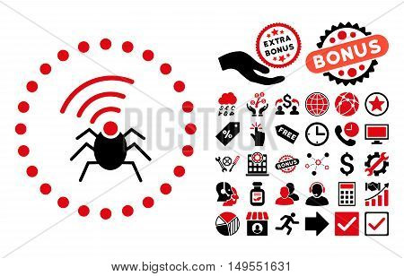 Radio Spy Bug icon with bonus pictograph collection. Glyph illustration style is flat iconic bicolor symbols, intensive red and black colors, white background.