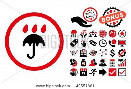 Rain Protection icon with bonus pictograph collection. Glyph illustration style is flat iconic bicolor symbols, intensive red and black colors, white background.