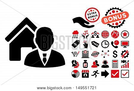 Realtor icon with bonus design elements. Glyph illustration style is flat iconic bicolor symbols, intensive red and black colors, white background.