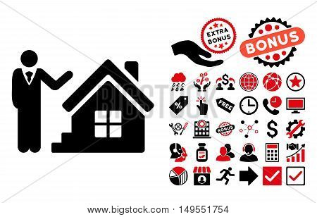 Realty Agent pictograph with bonus pictograph collection. Glyph illustration style is flat iconic bicolor symbols, intensive red and black colors, white background.