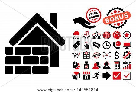 Realty Brick Wall icon with bonus pictogram. Glyph illustration style is flat iconic bicolor symbols, intensive red and black colors, white background.