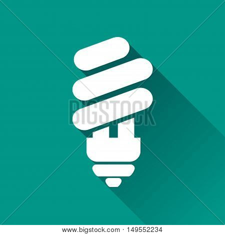 Illustration of eco light bulb icon with shadow