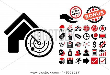 Realty Radar icon with bonus symbols. Glyph illustration style is flat iconic bicolor symbols, intensive red and black colors, white background.