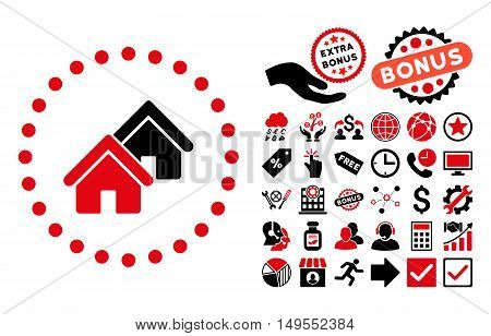 Realty icon with bonus pictogram. Glyph illustration style is flat iconic bicolor symbols, intensive red and black colors, white background.