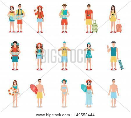 People traveling isolated on white tourists couple ready to trip on summer holidays trip character flat design vector illustration.
