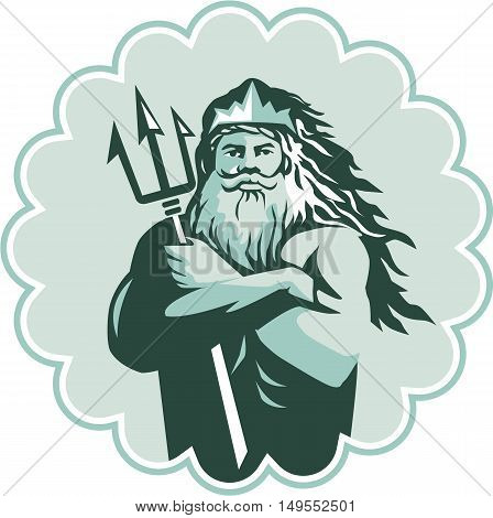Illustration of triton mythological god arms crossed holding trident viewed from front set inside rosette on isolated background done in retro style.