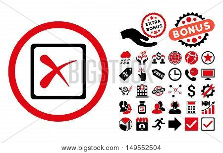 Reject pictograph with bonus elements. Glyph illustration style is flat iconic bicolor symbols, intensive red and black colors, white background.