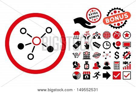 Relations pictograph with bonus pictures. Glyph illustration style is flat iconic bicolor symbols, intensive red and black colors, white background.