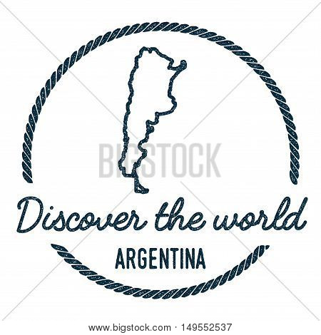 Argentina Map Outline. Vintage Discover The World Rubber Stamp With Argentina Map. Hipster Style Nau