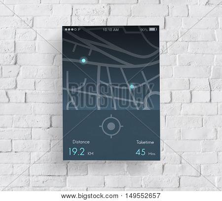 Navigation Distance Map Application Concept
