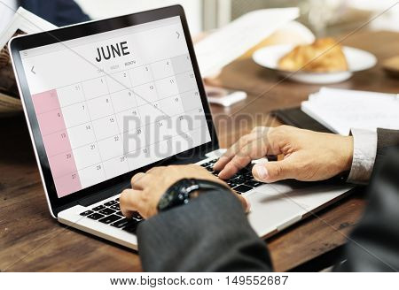 June Monthly Calendar Weekly Date Concept
