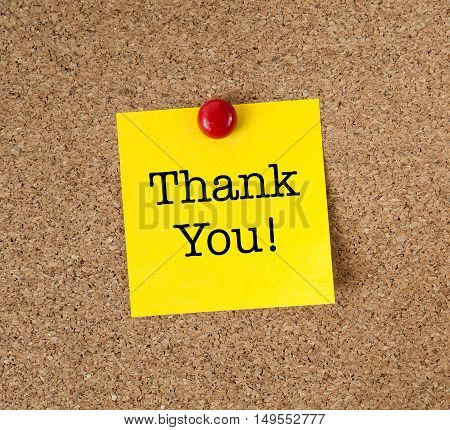 Yellow sticky note with the words Thank You
