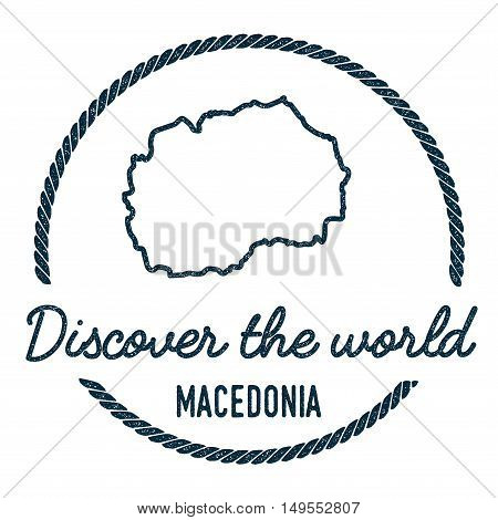 Macedonia, The Former Yugoslav Republic Of Map Outline... Vintage Discover The World Rubber Stamp Wi