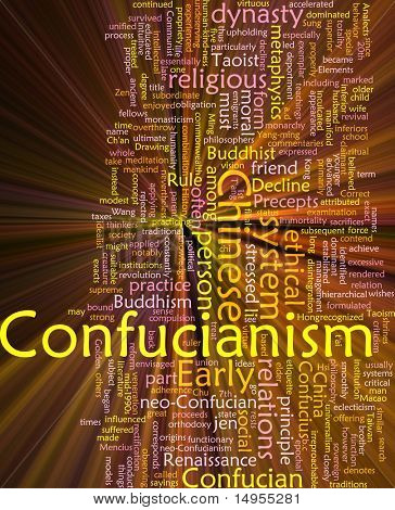 Word cloud concept illustration of  Confucian Confucianism glowing light effect