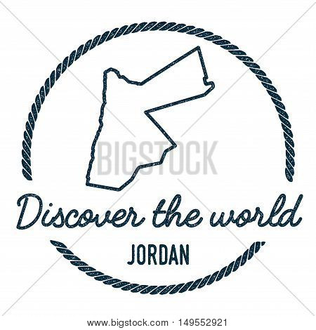 Jordan Map Outline. Vintage Discover The World Rubber Stamp With Jordan Map. Hipster Style Nautical
