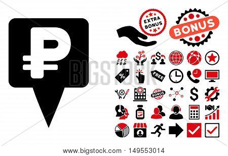 Rouble Map Pointer pictograph with bonus pictures. Glyph illustration style is flat iconic bicolor symbols, intensive red and black colors, white background.