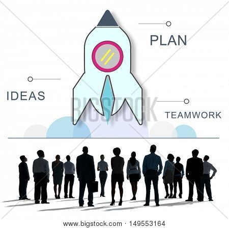 Rocket Spaceship Startup Business Strategy Graphic Concept
