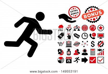 Running Man icon with bonus pictogram. Glyph illustration style is flat iconic bicolor symbols, intensive red and black colors, white background.