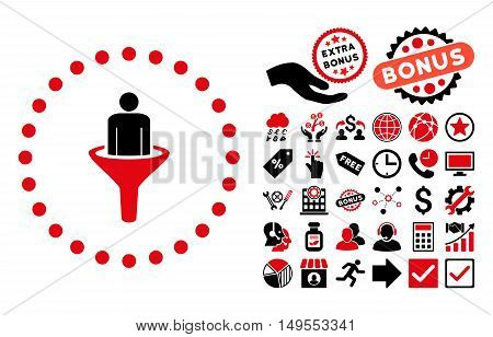 Sales Funnel icon with bonus clip art. Glyph illustration style is flat iconic bicolor symbols, intensive red and black colors, white background.