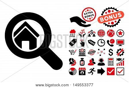 Search House pictograph with bonus pictogram. Glyph illustration style is flat iconic bicolor symbols, intensive red and black colors, white background.