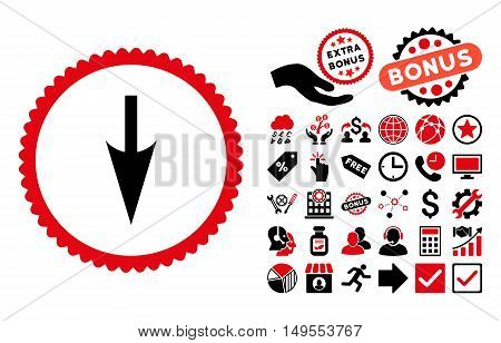 Sharp Down Arrow pictograph with bonus pictures. Glyph illustration style is flat iconic bicolor symbols, intensive red and black colors, white background.