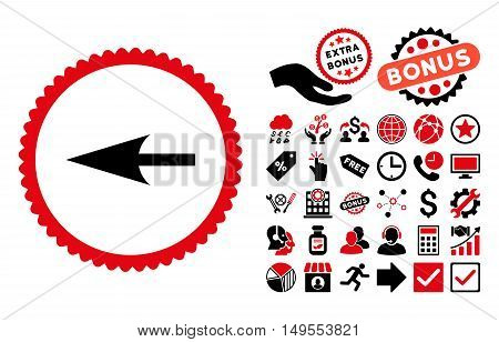 Sharp Left Arrow icon with bonus icon set. Glyph illustration style is flat iconic bicolor symbols, intensive red and black colors, white background.