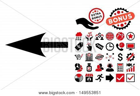 Sharp Left Arrow icon with bonus design elements. Glyph illustration style is flat iconic bicolor symbols, intensive red and black colors, white background.