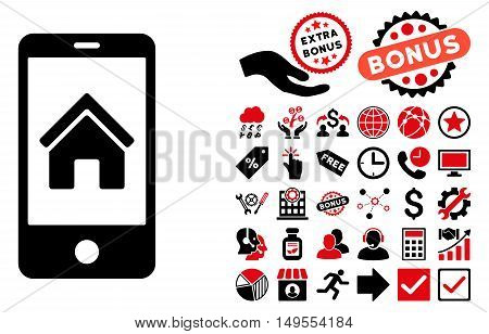 Smartphone Homepage icon with bonus symbols. Glyph illustration style is flat iconic bicolor symbols, intensive red and black colors, white background.