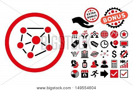 Social Graph icon with bonus pictograph collection. Glyph illustration style is flat iconic bicolor symbols, intensive red and black colors, white background.