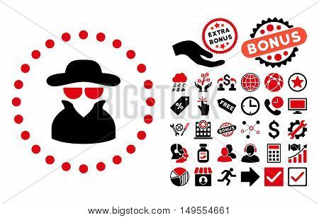 Spy pictograph with bonus pictures. Glyph illustration style is flat iconic bicolor symbols, intensive red and black colors, white background.
