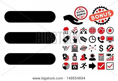 Stack icon with bonus elements. Glyph illustration style is flat iconic bicolor symbols, intensive red and black colors, white background.