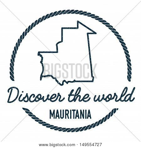 Mauritania Map Outline. Vintage Discover The World Rubber Stamp With Mauritania Map. Hipster Style N