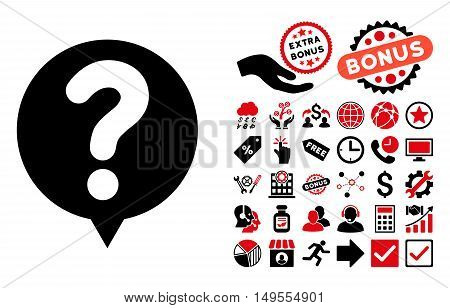 Status Balloon pictograph with bonus pictures. Glyph illustration style is flat iconic bicolor symbols, intensive red and black colors, white background.