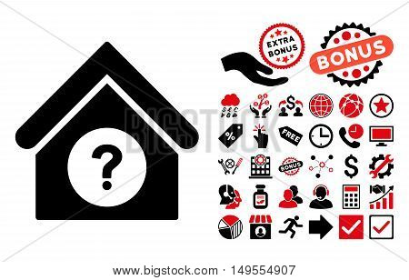 Status Building icon with bonus icon set. Glyph illustration style is flat iconic bicolor symbols, intensive red and black colors, white background.