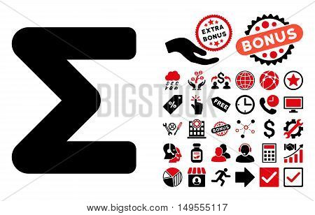 Sum pictograph with bonus pictogram. Glyph illustration style is flat iconic bicolor symbols, intensive red and black colors, white background.