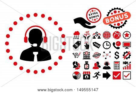 Support Chat icon with bonus pictures. Glyph illustration style is flat iconic bicolor symbols, intensive red and black colors, white background.