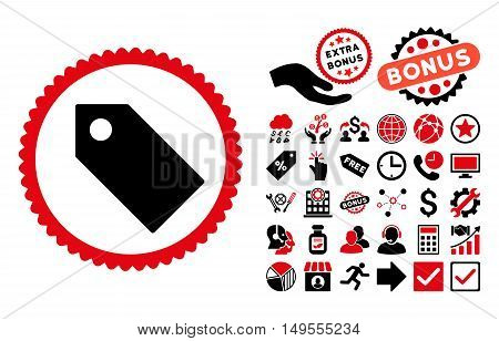 Tag pictograph with bonus symbols. Glyph illustration style is flat iconic bicolor symbols, intensive red and black colors, white background.