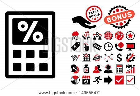 Tax Calculator pictograph with bonus images. Glyph illustration style is flat iconic bicolor symbols, intensive red and black colors, white background.