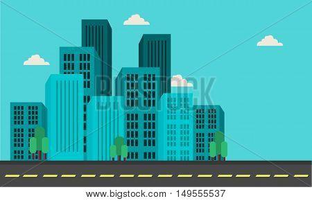 Illustration of city building landscape and street