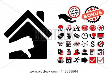 Terrible House icon with bonus pictogram. Glyph illustration style is flat iconic bicolor symbols, intensive red and black colors, white background.