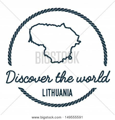 Lithuania Map Outline. Vintage Discover The World Rubber Stamp With Lithuania Map. Hipster Style Nau