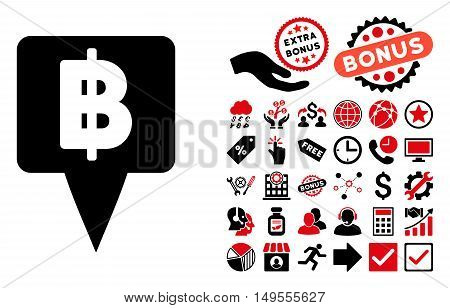 Thai Baht Map Pointer pictograph with bonus design elements. Glyph illustration style is flat iconic bicolor symbols, intensive red and black colors, white background.