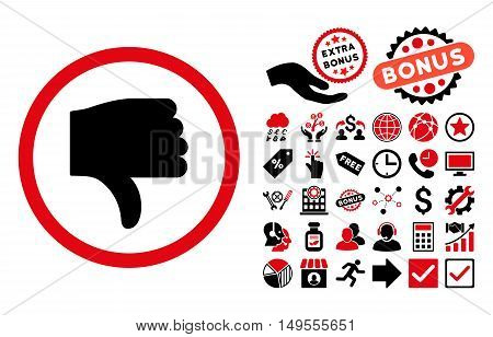 Thumb Down pictograph with bonus pictures. Glyph illustration style is flat iconic bicolor symbols, intensive red and black colors, white background.