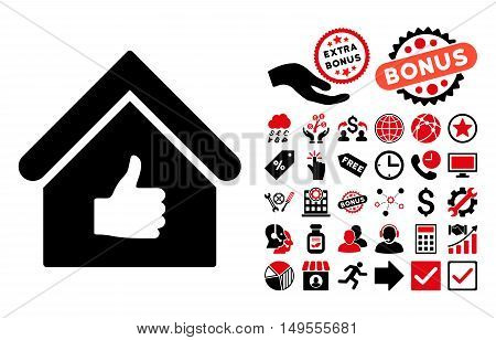 Thumb Up Building pictograph with bonus images. Glyph illustration style is flat iconic bicolor symbols, intensive red and black colors, white background.