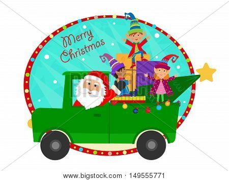 Cute clip art of Santa driving a pickup truck full of presents and cheering elves. Eps10